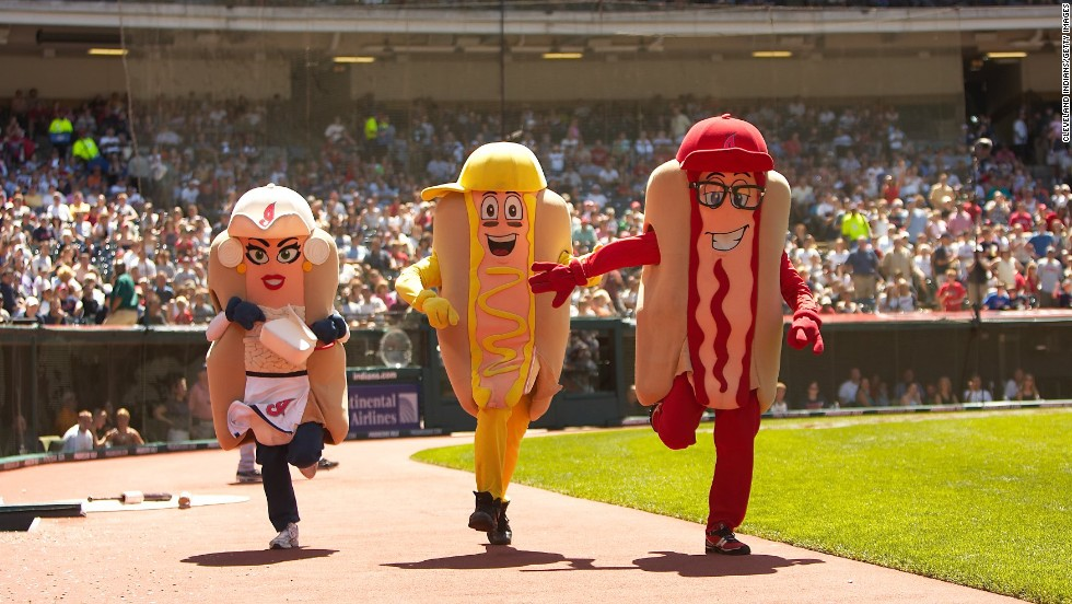 CLEVELAND, OH - JULY 13: Onion, Mustard and Ketchup race during the Hot Dog Derby during the game with the Tampa Bay Rays and the Cleveland Indians at Progressive Field on July 13, 2008 in Cleveland, Ohio. The Indians defeated the Rays 5-2. (Photo by Cleveland Indians/Getty Images)